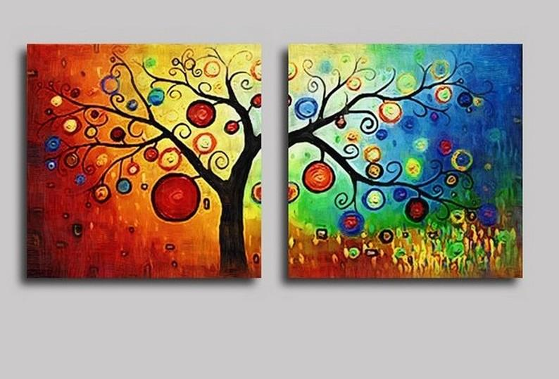 Heavy Texture Art, 3 Piece Abstract Art, Canvas Painting, Colorful Tree Painting, Abstract Painting, Tree of Life Painting