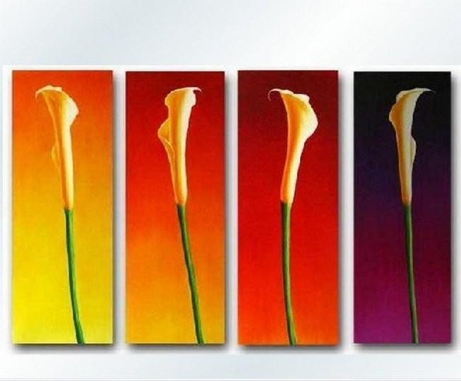 Flower Art, Calla Lily Painting, Large Canvas Art, Flower Art, Canvas Painting, Abstract Painting, 4 Piece Wall Art, Huge Painting, Acrylic Art, Ready to Hang