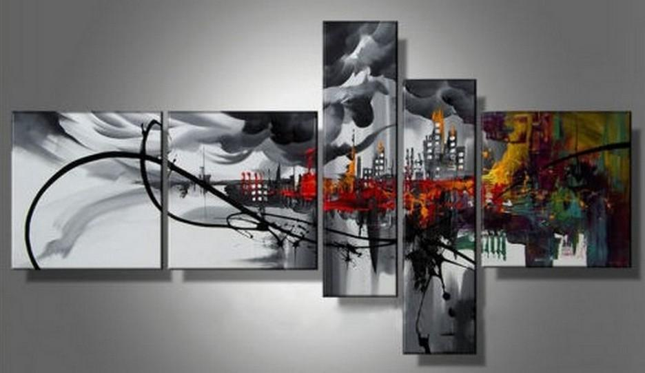 Cityscape Art, Black Wall Art, Huge Wall Art, Acrylic Art, 5 Piece Wall Painting, Hand Painted Art, Group Painting
