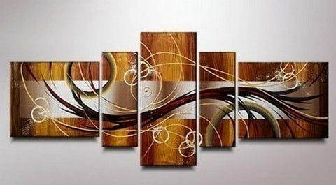 Abstract Lines Art, Canvas Art Painting, Huge Wall Art, Acrylic Art, 5 Piece Wall Painting, Canvas Painting, Hand Painted Art - Art Painting Canvas