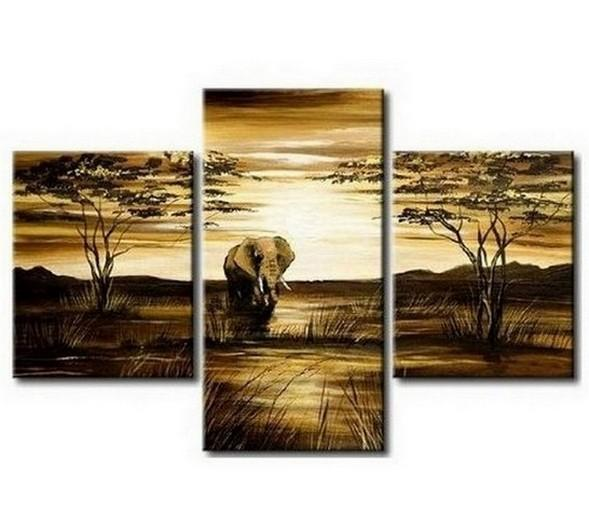 Canvas Art, Home Art Decor, African Art Painting, Dining Room Wall Art, Art on Canvas, Modern Art, Landscape Painting - Art Painting Canvas