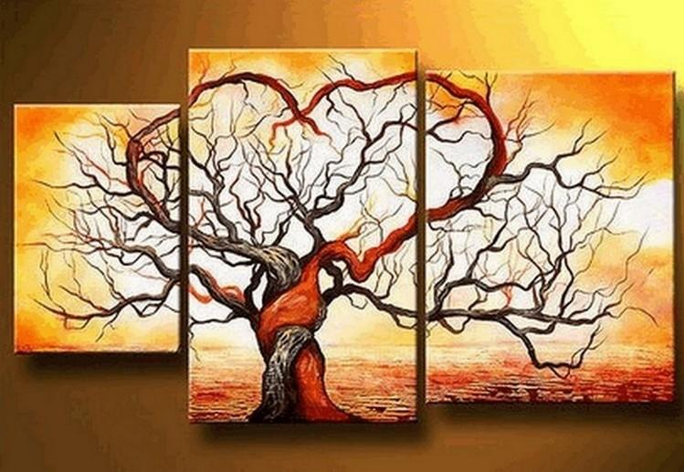 Abstract Painting, Love Tree Painting, Huge Painting, 3 Piece Canvas Art, Tree of Life Painting, Hand Painted Art - Art Painting Canvas