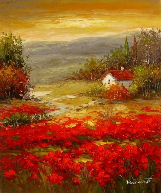 Flower Field, Wall Art, Landscape Painting, Living Room Wall Art, Cypress Tree, Canvas Art, Red Poppy Field, Ready to Hang