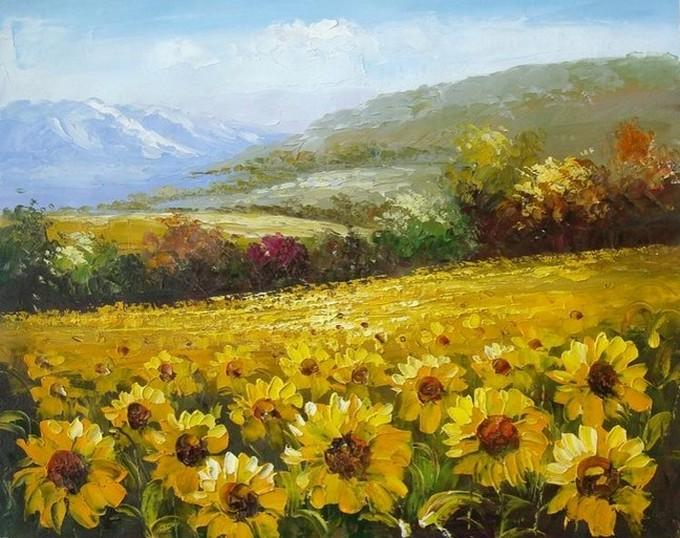 Canvas Painting Landscape Painting Sunflower Field Wall Art Large Wall Painting Living Room Wall Art Oil Painting Canvas Art Autumn Painting