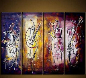 4 Piece Wall Art, Music Player Painting, Extra Large Art, Abstract Wall Art, Wall Painting, Acrylic Art, Modern Art - Art Painting Canvas