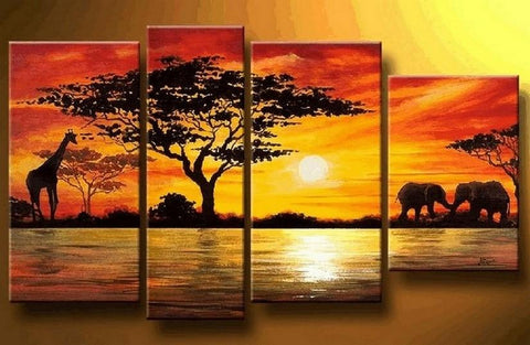 African Painting, Sunset Painting, Living Room Wall Art, Modern Art, Extra Large Wall Art - Art Painting Canvas