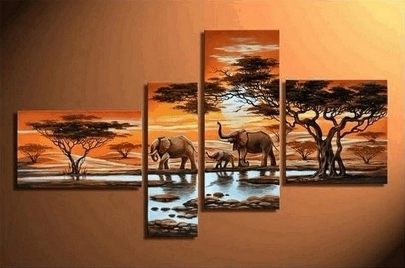 African Painting Sunset Animal Painting, African Painting, Living Room Wall Art, Modern Art, Contemporary Art, Modern Art