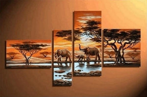 African Painting Sunset Animal Painting, African Painting, Living Room Wall Art, Modern Art, Contemporary Art, Modern Art - Art Painting Canvas