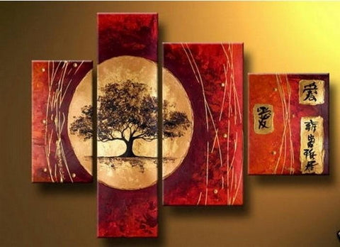 Extra Large Painting, Tree of Life Painting, Red Abstract Painting, 4 Piece Art Painting, Abstract Art, Living Room Wall Art