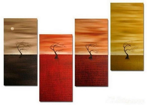 Sunset Tree Painting, Abstract Painting, Tree of Life Painting, 4 Panel Art Painting, Abstract Art, Living Room Wall Art