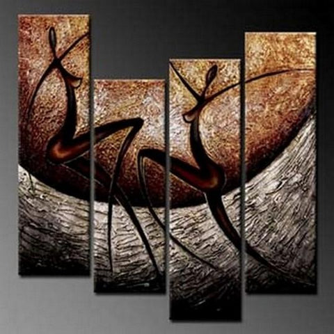 4 Piece Wall Art, Abstract Figure Painting, Wall Painting, Acrylic Art, Modern Wall Art, Abstract Art, Canvas Painting, Abstract Painting - Art Painting Canvas