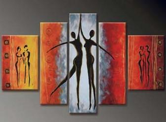 Dancing Figure Painting, Abstract Art, Canvas Painting, Wall Art, Large Art, Abstract Painting, Large Canvas Art, 5 Piece Wall Art, Bedroom Wall Art