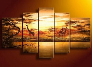 African Painting, Sunset Painting, Canvas Painting, Wall Art, Large Art, Abstract Painting, Living Room Art, 5 Piece Wall Art