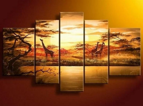 African Painting, Sunset Painting, Canvas Painting, Wall Art, Large Art, Abstract Painting, Living Room Art, 5 Piece Wall Art - Art Painting Canvas