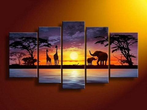African Painting, Sunset Painting, Abstract Art, Canvas Painting, Wall Art, Large Art, Abstract Painting, Living Room Art, 5 Piece Wall Art, Living Room Wall Painting - Art Painting Canvas