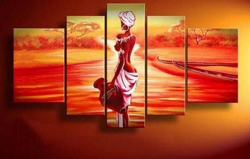 African Girl, Sunset Painting, Canvas Painting, African Woman Painting, 5 Piece Canvas Art, Abstract Wall Painting