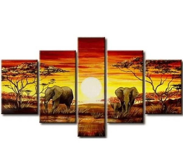 African Painting, Elephant Painting, Living Room Art, 5 Piece Wall Art, Living Room Wall Painting - Art Painting Canvas