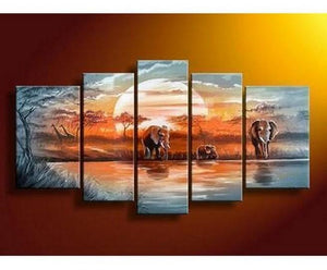 Elephant Painting, African Painting, Abstract Art, Canvas Painting, Wall Art, Large Art, Abstract Painting, Living Room Art, 5 Piece Wall Art