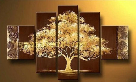Abstract Art, Tree of Life Painting, Heavy Texture Art, 5 Piece Canvas Painting, Wall Art, Large Art, Acrylic Art