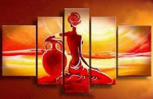 Abstract Art, African Girl Painting, Sunset Painting, Canvas Painting, Wall Art, African Woman Painting, Buy Art Online
