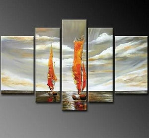 Sailing Boat art Sea, Abstract Art, Canvas Painting, Wall Art, Large Art, Abstract Painting, Living Room Art, 5 Piece Wall Art, Landscape Painting