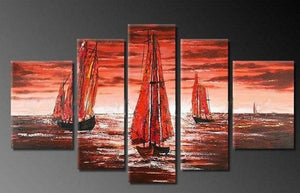 Sailing Boat art Sea, Sunset Art, Abstract Art, Wall Art, Large Art, Abstract Painting, 5 Piece Wall Art, Landscape Painting