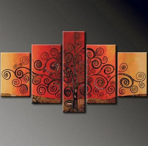Tree of Life Painting, Abstract Art Painting, 5 Piece Canvas Painting, Wall Art, Acrylic Art