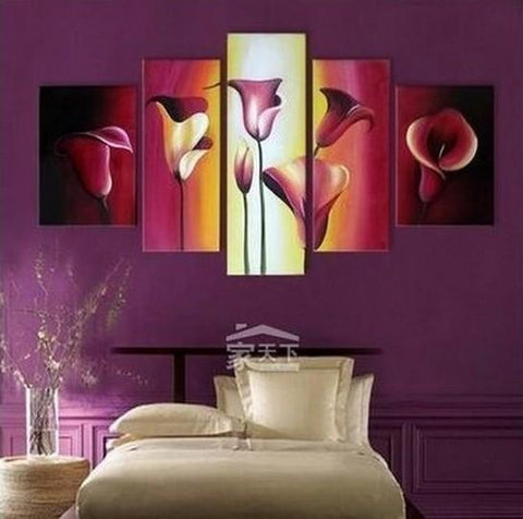 Abstract Art, Calla Lily Painting, Large Canvas Art, Flower Art, Canvas Painting, Abstract Painting, 5 Piece Wall Art, Modern Art, Acrylic Art - Art Painting Canvas