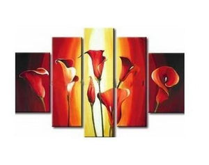 Flower Art, Canvas Painting, Abstract Art, Calla Lily Painting, Large Canvas Art, Abstract Painting, 5 Piece Wall Art, Modern Art, Acrylic Art