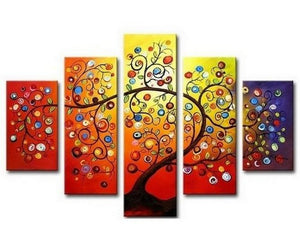 Color Tree Painting, Heavy Texture Art, Tree of Life Art, 5 Piece Canvas Art