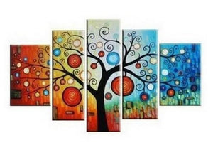 Tree of Life Painting, Abstract Art, Abstract Painting, Large Canvas Art, Heavy Texture Art, Flower Art, Canvas Painting, 5 Piece Wall Art, Modern Art, Acrylic Art