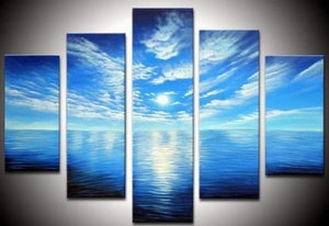 Moon Rising from Sea, Ready to Hang, Large Abstract Art, Abstract Wall Art, Bedroom Art, 5 Piece Art, Canvas Painting