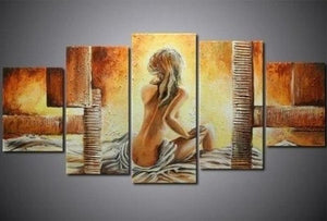 5 Piece Abstract Painting, Extra Large Art, Abstract Art, Bedroom Art Painting, 5 Piece Wall Art, Girl After Bath, Ready to Hang Painting