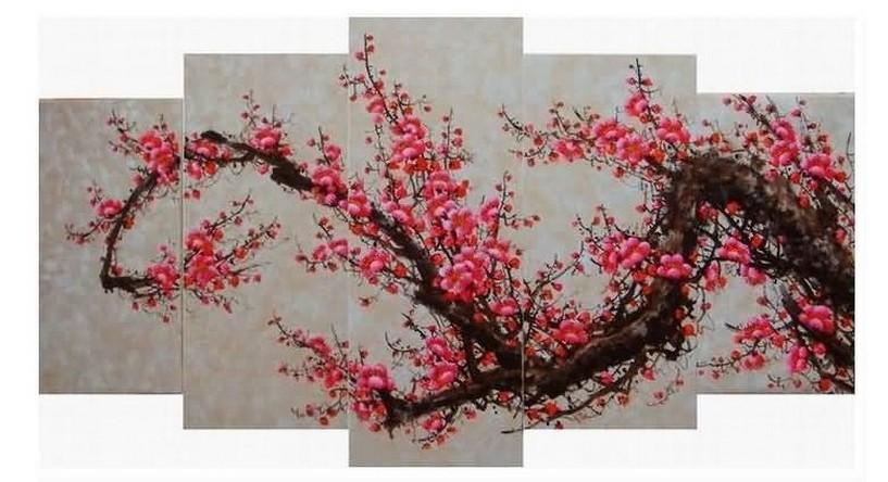 Plum Tree Flower Painting, Ready to Hang, Large Art, Abstract Art, Flower Oil Painting, Abstract Painting, Canvas Painting, 5 Piece Wall Art, Canvas Art Painting