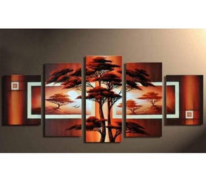 Tree of Life Painting, Ready to Hang, Large Art, Abstract Art, Large Wall Art, Abstract Painting, Canvas Painting, 5 Piece Wall Art, Canvas Art Painting
