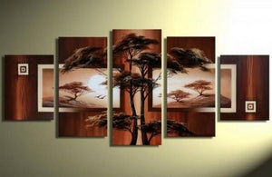 Abstract Art, Large Wall Art, Tree of Life Painting, Art on Canvas, Large Art, Canvas Painting, 5 Piece Canvas Art