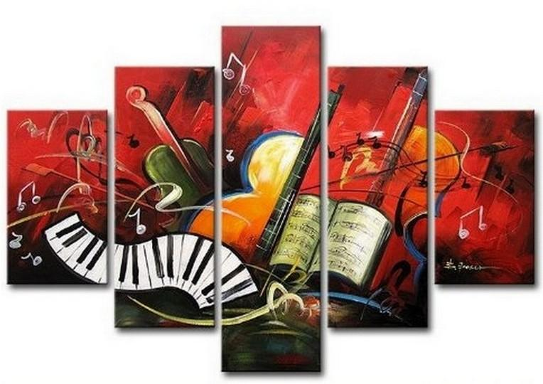 Canvas Art Painting, Abstract Painting, Abstract Art, 5 Piece Oil Painting, Canvas Painting, Violin Music Art - Art Painting Canvas