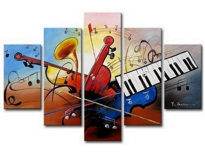Large Canvas Art, Abstract Art, Canvas Art Painting, Abstract Painting, Wall Art, 5 Piece Wall Painting, Canvas Painting, Violin Music Art