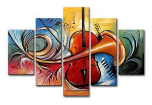 Violin Music Art, Canvas Art Painting, Abstract Painting, Wall Art, Acrylic Art, 5 Piece Wall Painting, Canvas Painting