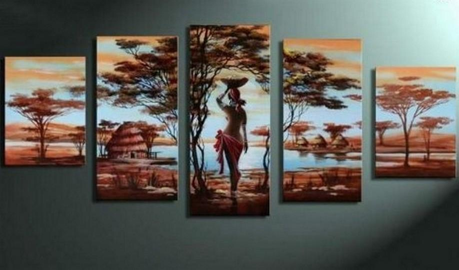 Canvas Painting, Abstract Painting, 5 Piece Canvas Art, Abstract Art, African Art, African Girl Painting, African Woman Painting, Modern Art