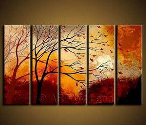 Landscape Painting, Large Wall Art, Abstract Art, Landscape Art, Canvas Painting, Oil Painting, 5 Piece Wall Art, Huge Wall Art, Ready to Hang