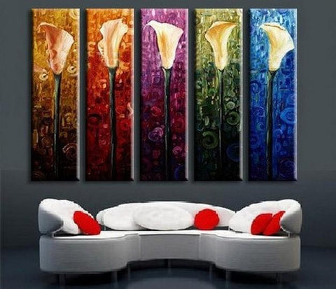 Abstract Art, Calla Lily Painting, Flower Art, Canvas Painting, Abstract Painting, 5 Piece Wall Art, Acrylic Art, Ready to Hang