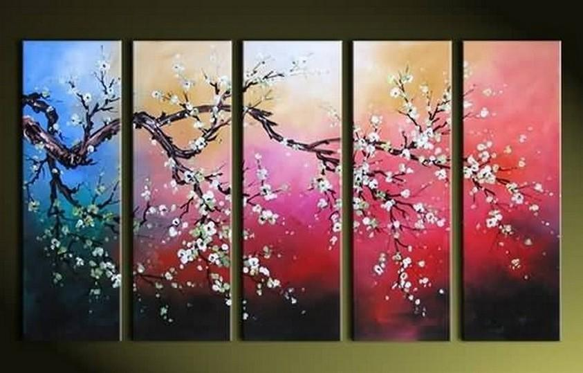 Plum Tree Painting, Flower Art, Abstract Painting, 5 Piece Wall Art, Huge Painting, Acrylic Art, Ready to Hang