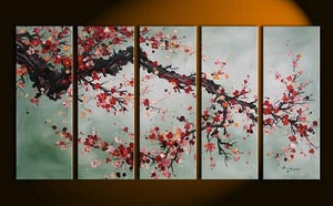 XL Wall Art, Abstract Art, Abstract Painting, Flower Art, Canvas Painting, Plum Tree Painting, 5 Piece Wall Art, Huge Wall Art, Acrylic Art, Ready to Hang