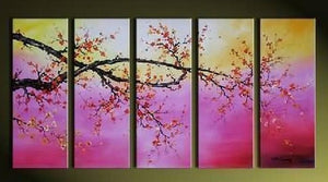 Flower Art, Canvas Painting, Plum Tree Painting, Large Canvas Art, Abstract Art, Abstract Painting, 5 Piece Wall Art, Huge Painting, Acrylic Art, Ready to Hang