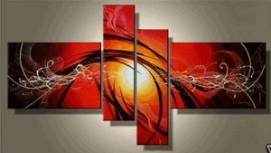 Acrylic Art, Canvas Art Painting, Abstract Lines Painting, Large Wall Art, Abstract Art, 4 Pannel Wall Art, 100% Hand Painted Art, Red Painting - Art Painting Canvas