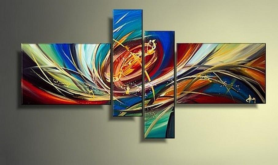 Colorful Lines, Abstract Painting, Wall Art, Acrylic Art, 4 Piece Wall Art, Canvas Painting, Hand Painted Art, Group Painting