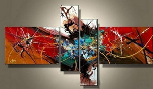 Abstract Art Painting, 4 Piece Wall Art, Canvas Painting, Hand Painted Art, Group Painting - Art Painting Canvas