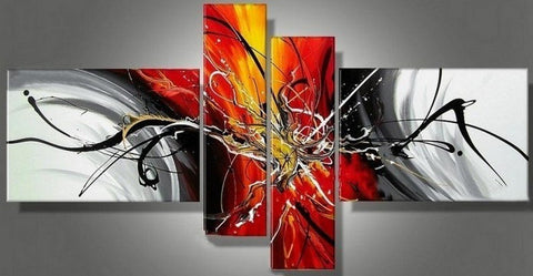 Canvas Art Painting, Abstract Painting, Acrylic Art, 4 Piece Wall Art, Canvas Painting, Hand Painted Art, Group Painting - Art Painting Canvas