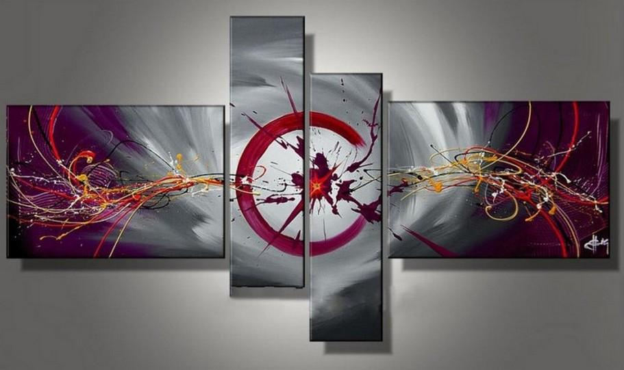 Canvas Art Painting, Large Wall Art, Abstract Painting, Acrylic Art, 4 Panel Canvas Painting, 100% Hand Painted Art, Group Art - Art Painting Canvas